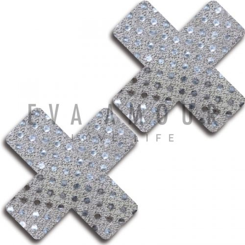 Glitter White Shiny Dot Cross Pasties Set