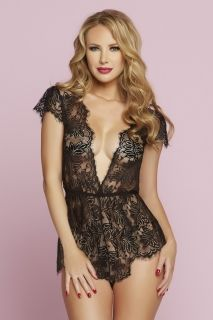Seven 'Til Midnight White Eyelash Lace Romper With Plunging Neckline