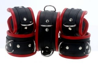 Black & Red Leather Restraints